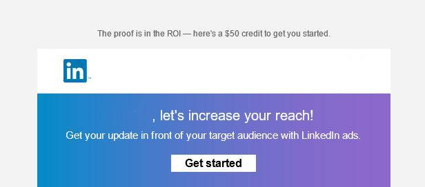 email voucher 50 dolari pret promovare linkedin