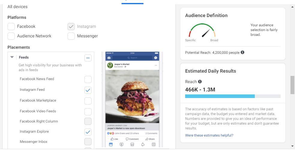 Pret promovare Instagram la crearea Campaniei - utilizarea interfetei de creare reclame