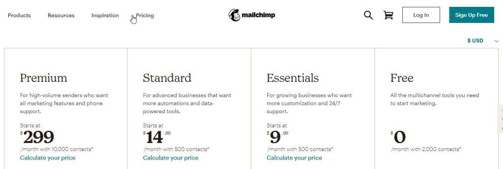 costuri servicii email marketing mailchimp